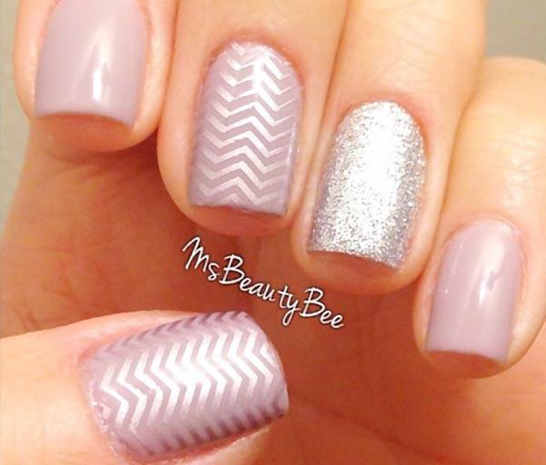 silver stamped glitter lilac nails