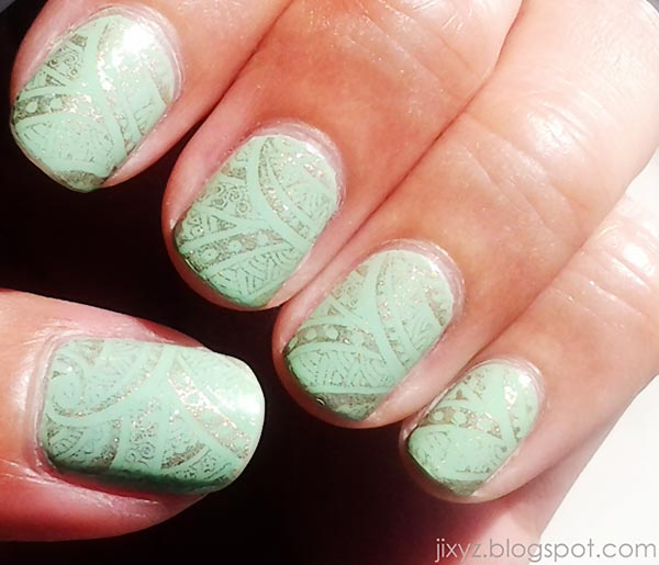 silver stamped mint nails