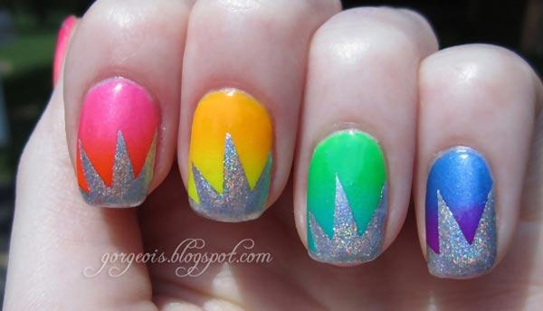 silver stars neon gradient rainbow nails