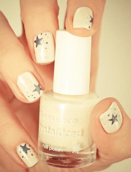 silver stars on white nails