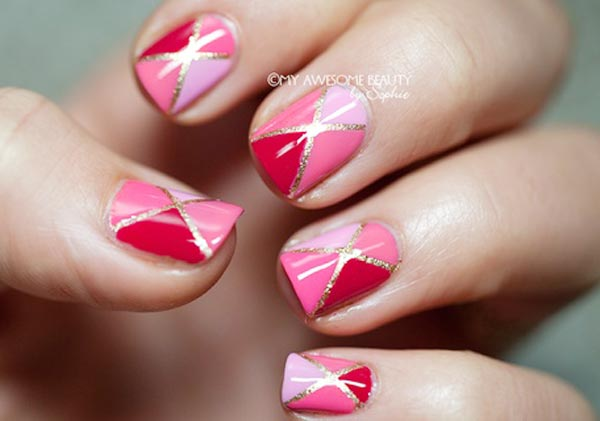 silver stripes pink geometry nails