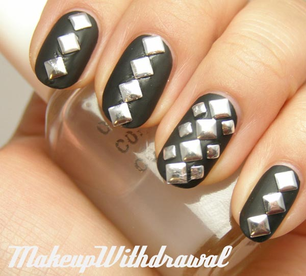 silver studded black nails