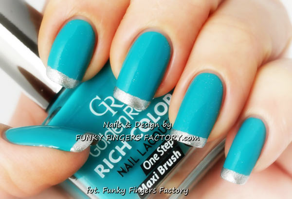 silver teal french nails