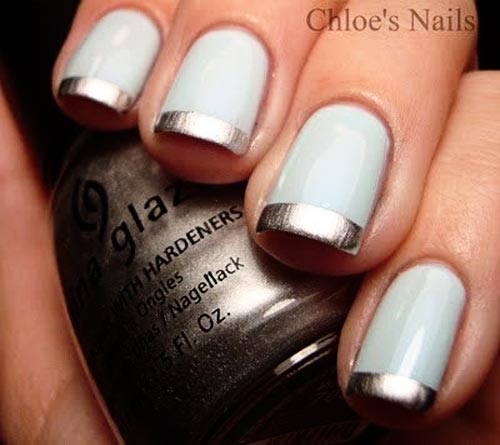 silver tips french blue nails