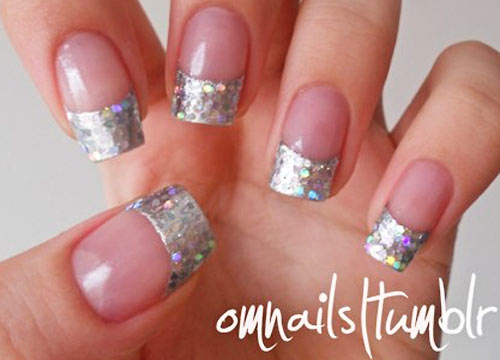 silver tips french party nails