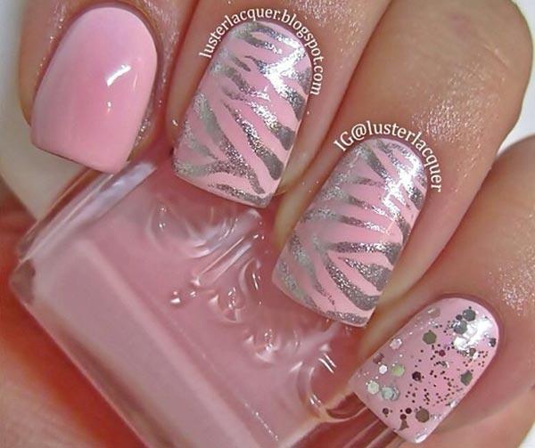 silver zebra glitter pink nails