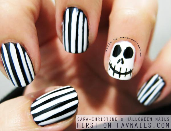 skellington black and white halloween nails