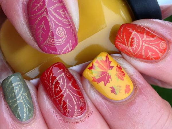 skittles colorful leaves stamped fall nails
