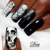 skull web black white gradient halloween nails