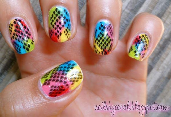 snake print neon nails