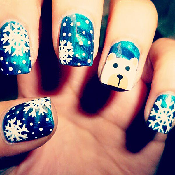 snow blue winter nails