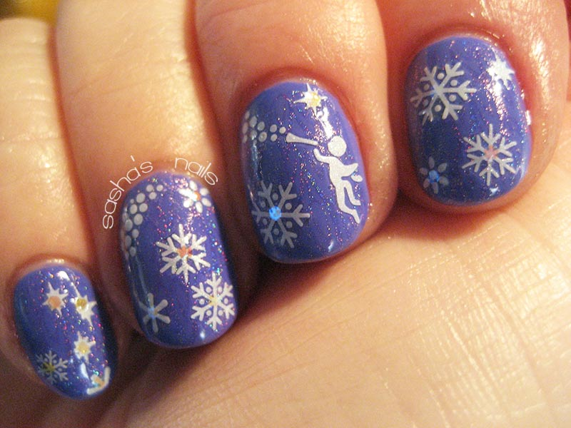 snowflakes angel stickers blue winter nails