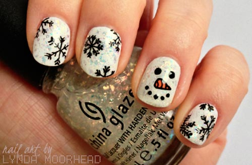 snowflakes snowman winter nails