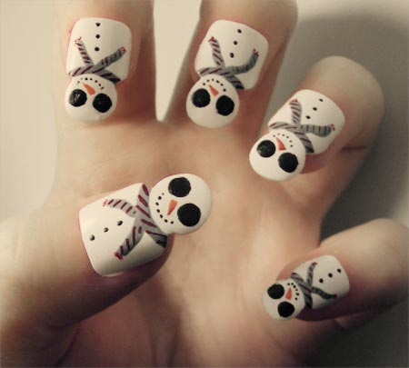 snowmen winter nails