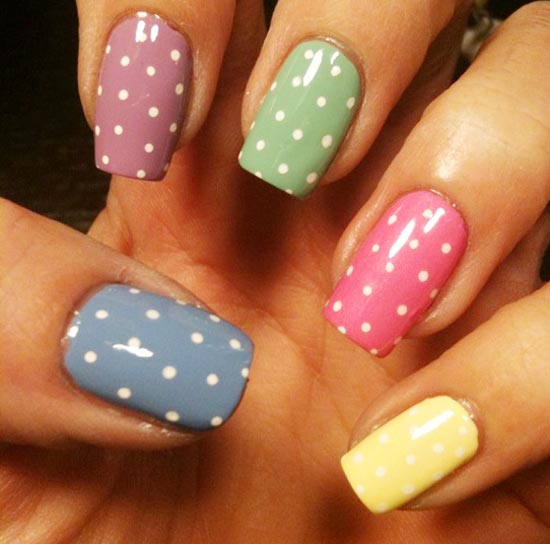 soft colors dotted nails