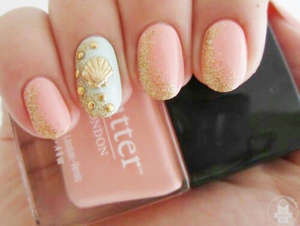 soft coral blue gold glitter beach nails