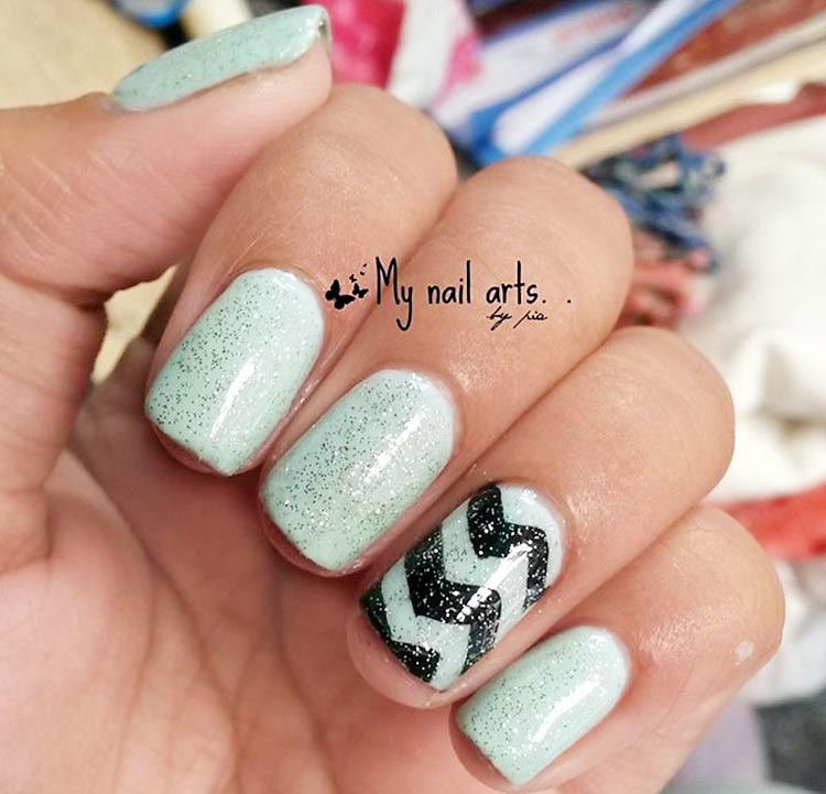 soft mint chevron glitter nails