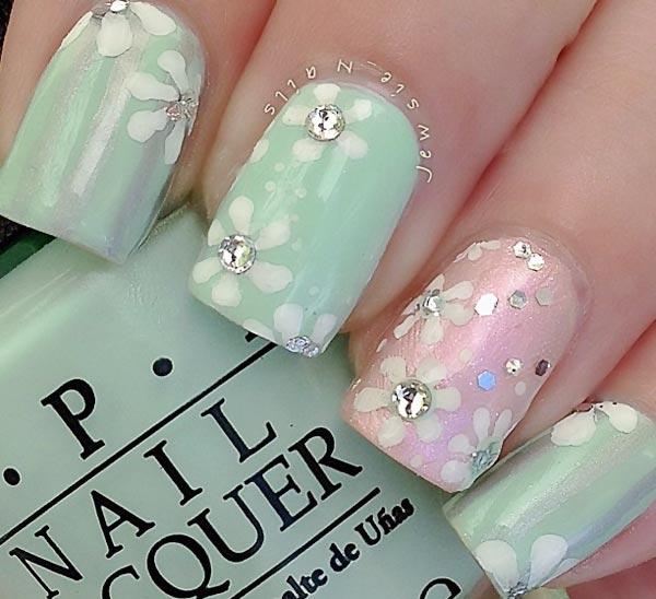 soft mint pink rhinestones flowers nails