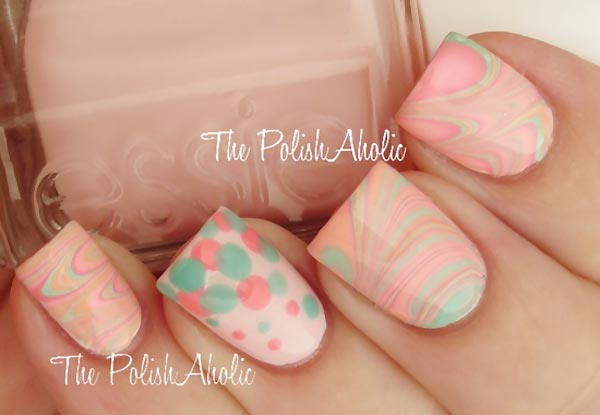 soft pastel dotted marbled nails