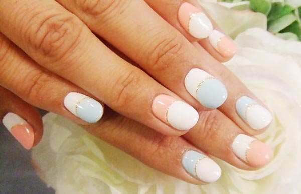 soft pastels glitter moon french nails