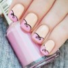 soft peach pink bow french nails