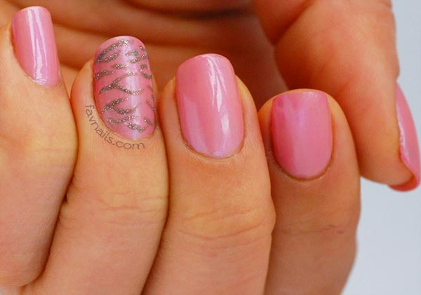 soft pink freehand silver zebra nails