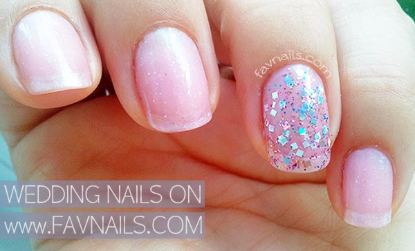 soft pink glitter mix wedding nails