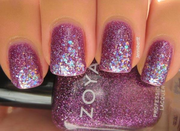 soft purple shimmer glitter nails