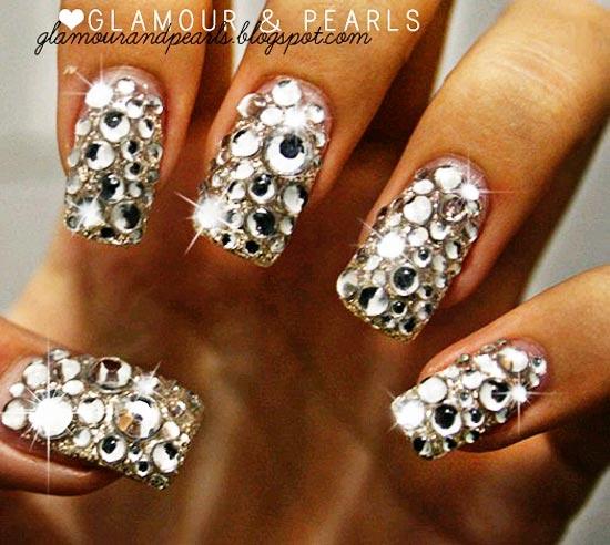sparkling rhinestones nails