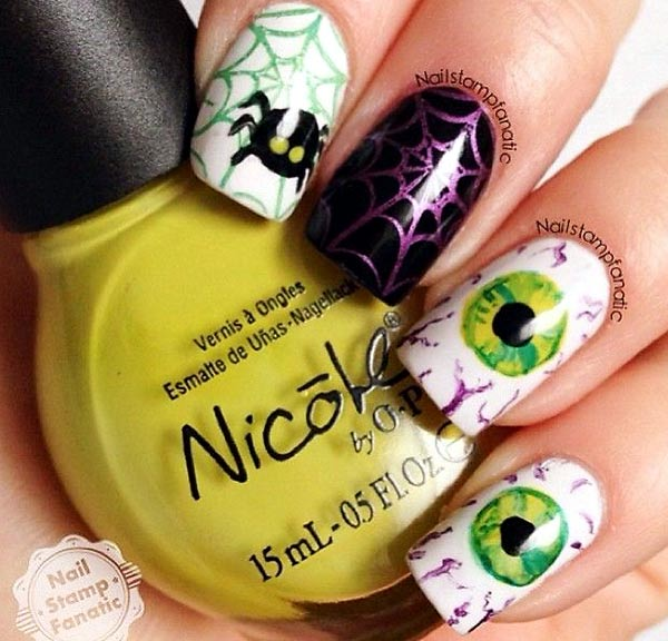 spider web eyeballs creepy halloween nails