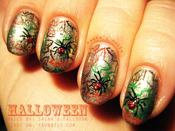 spiders fall leaves stamped silver shimmer nails