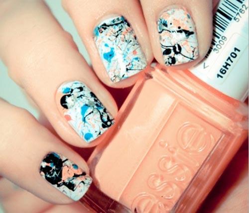 splatter on white nails