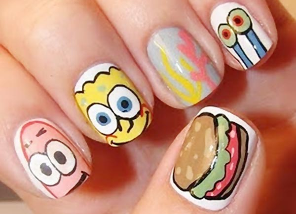 sponge bob funny nails