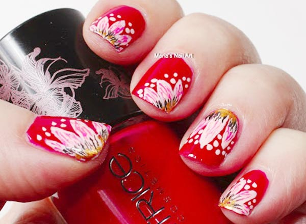 spring flowers red easter nails