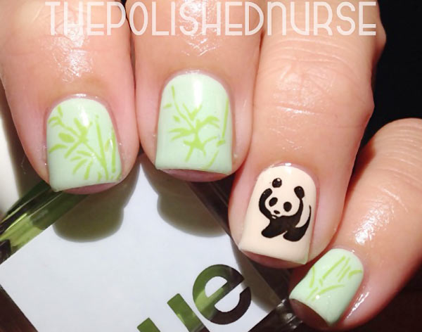 stamped bamboo panda nails