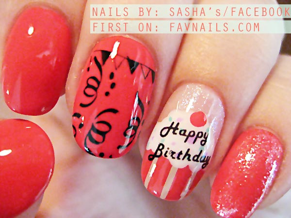 stamped coral cupcake birthday party nails