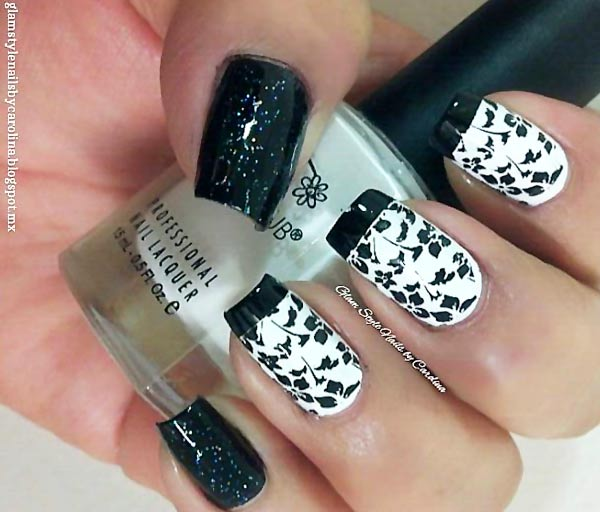stamped flowers black tipped french nails
