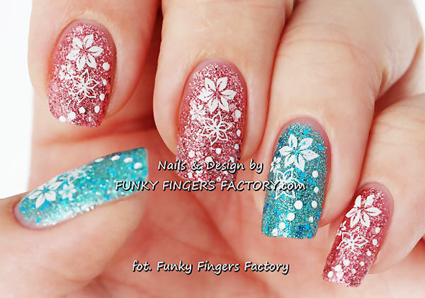 flowers stamped on pink teal glitter nails