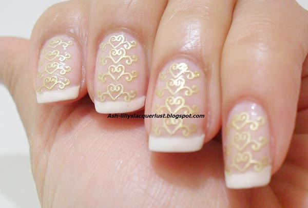 stamped gold french bridal nails