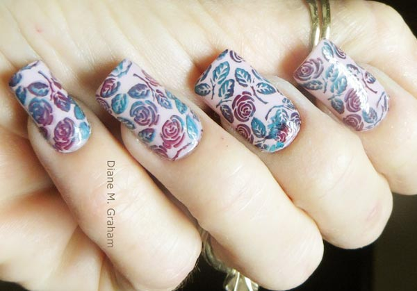 stamped gradient roses on beige nails