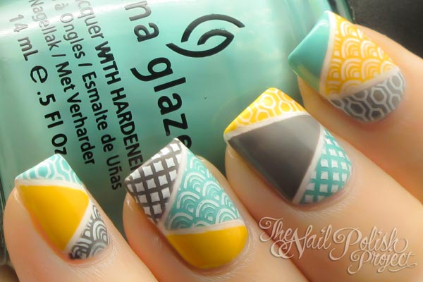 stamped gray teal yellow nails