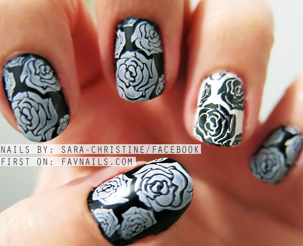 stamped roses black and white nails