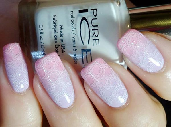 stamped soft pink blue gradient nails