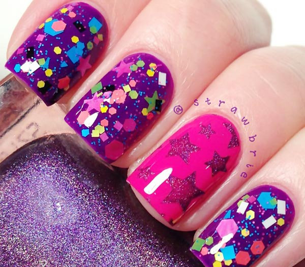 stamped stars confetti glitter purple nails