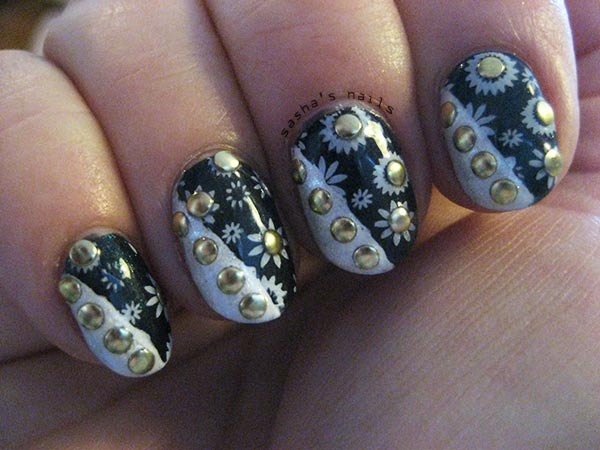 stamped studded black and white nails