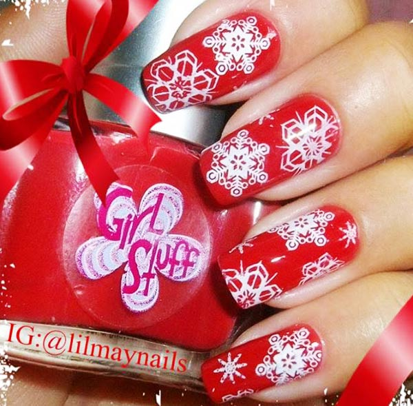 stamped white snowflakes red winter nails