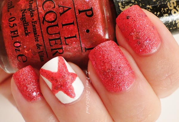 star accent coral liquid sand nails