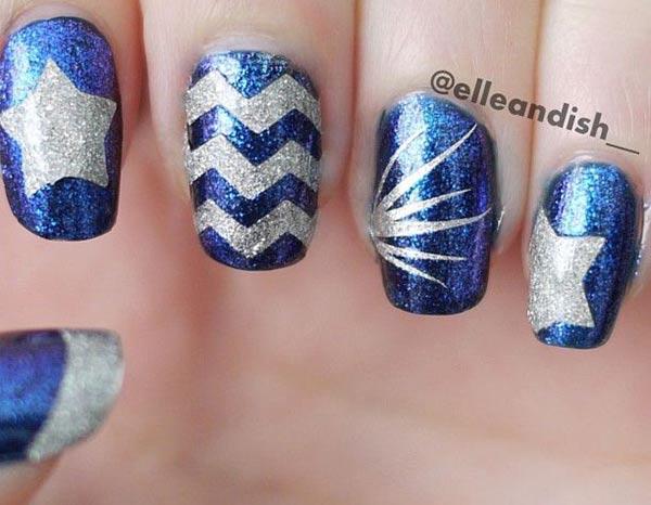 star chevron rays blue silver festive nails