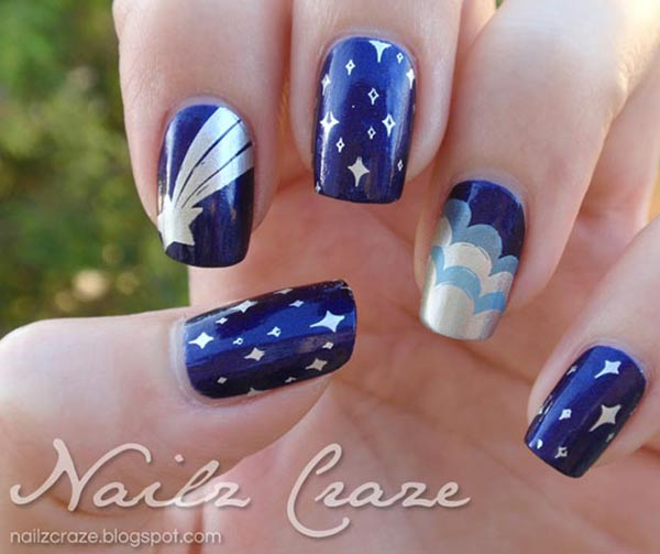 stars clouds blue metallic stamped nails