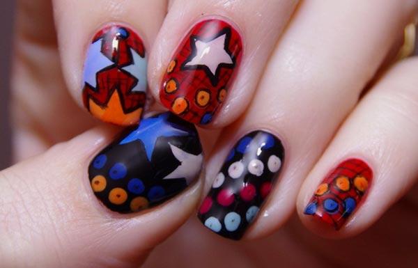 stars dots black red cartoons nails